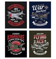 vintage world war 2 fighter plane graphic t-shirt vector image