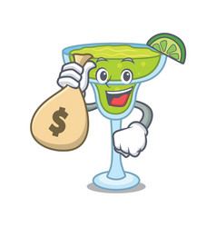 With money bag margarita character cartoon style vector