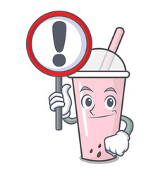 with sign raspberry bubble tea character cartoon vector image