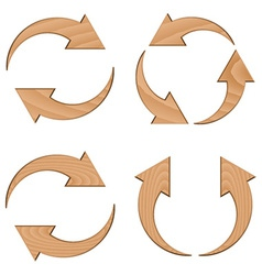Wooden circular arrows vector