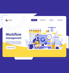 workflow management flat landing page vector image
