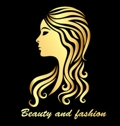 a girl with a hairstyle drawing of a golden vector image