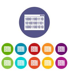 binary code set icons vector image vector image