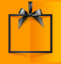 Black gift box frame with silky bow and ribbon on vector image vector image