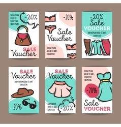 set of discount coupons for woman clothes vector image