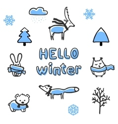 Set of winter animals and vector image