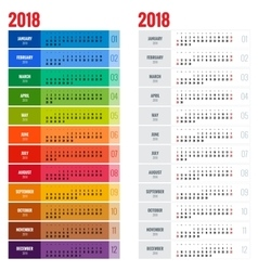 Yearly Wall Calendar Planner Template for 2018 vector image