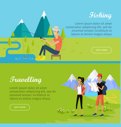 set of summer vacation flat web banners vector image