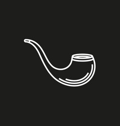 tobacco pipe simple icon on black background vector image vector image