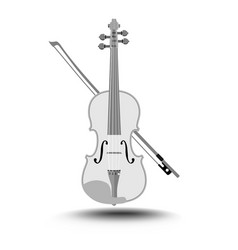 violin with fiddlestick gray drawing on white vector image vector image