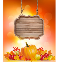 autumn background with fruit and leaves and vector image vector image