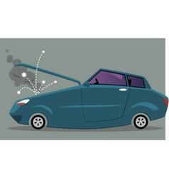 Broken car with an open hood vector image
