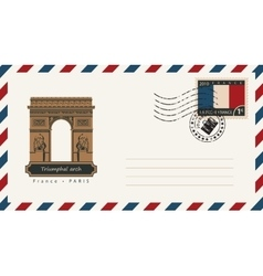envelope with a postage stamp with Triumphal arch vector image