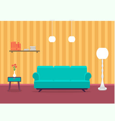 interior design of living room in flat style with vector image