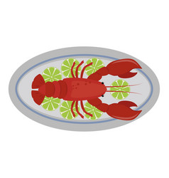lobster flat fresh seafood vector image