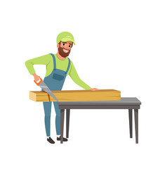 male carpenter in uniform cutting a wooden plank vector image