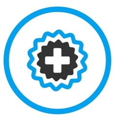 Medical Cross Stamp Rounded Icon vector image