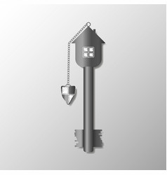 the key of the house with a shield keychain vector image