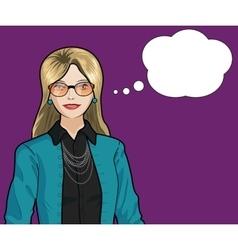Caucasian Businesswoman pop art comic vector image vector image
