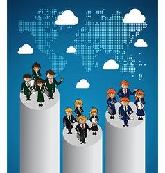 Global map business teamwork ranking vector image vector image