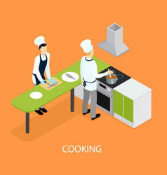 isometric restaurant people cooking template vector image vector image