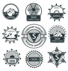 Set emblems mountain labels and signs vintage vector image vector image