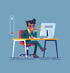 tired black man sitting at his working place vector image