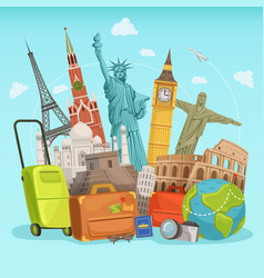 travel poster design with different world vector image