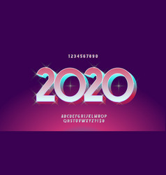 2020 christmas font 3d bold style vector image