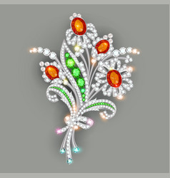A brilliant jewelry brooch in shape a vector