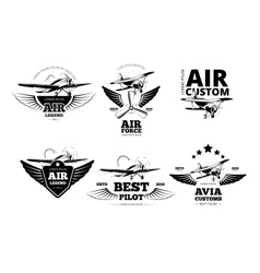Airplane emblems labels vector
