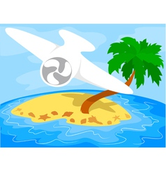 Airplane over a tropical island vector