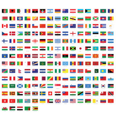 all national flags world with names vector image