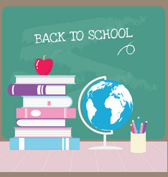 back to school with green blackboard banner vector image