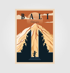Bali province indonesian vintage poster culture vector