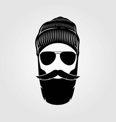 Bearded men in knit hat hipster face vector
