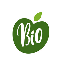 Bio fruits green apple inscription isolated logo vector