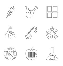 Biotechnology icon set outline style vector