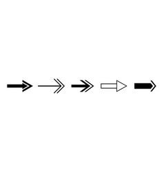 black arrows set isolated right arrow vector image