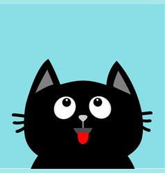 black cat head looking up red tongue surprised vector image