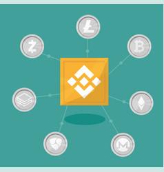 blockchain binance - cryptocurrency exchange vector image