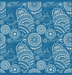 blue and white seamless pattern with floral vector image