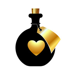 Bottle with a golden heart and a tag on a white vector