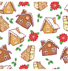 Brown gingerbread houses and poinsettia vector