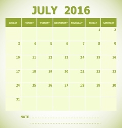 Calendar July 2016 week starts Sunday vector