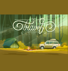 camp with car and tent vector image