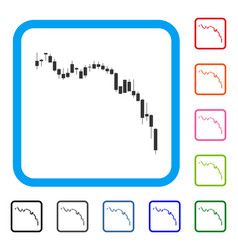 candlestick chart down framed icon vector image