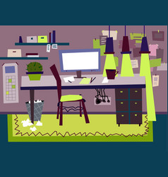 Cartoon flat interior work room vector