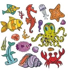 Cartoon Funny Fish Sea Life Colored Doodle set vector