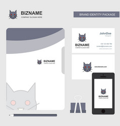 cat business logo file cover visiting card and vector image
